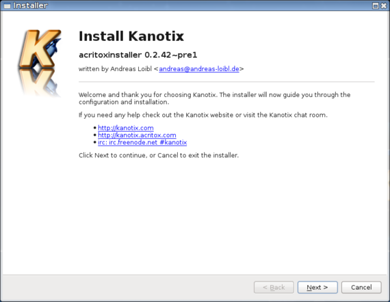 Acritox Installer - Welcome message