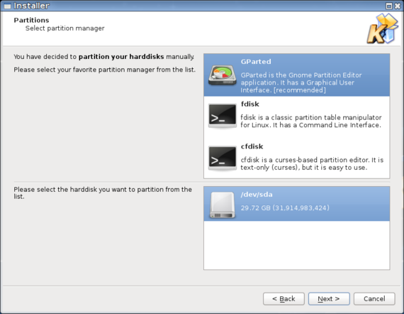 Acritox Installer - Choose partition manager