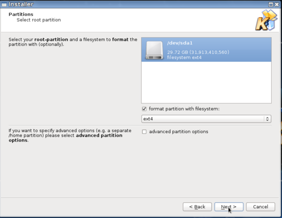 Acritox Installer - Select root partition